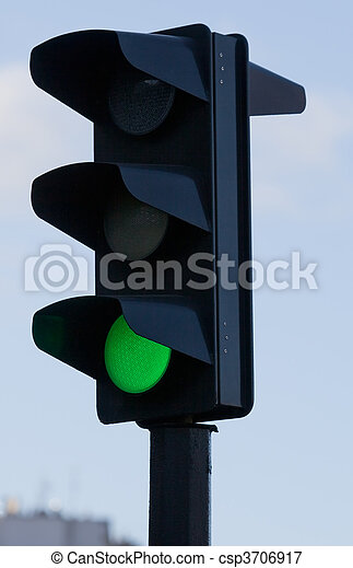 Traffic lights with green lit - csp3706917