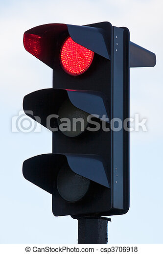 Traffic lights with red lit - csp3706918