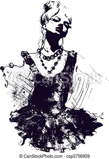niña, bailarín, Ilustración - csp3706959