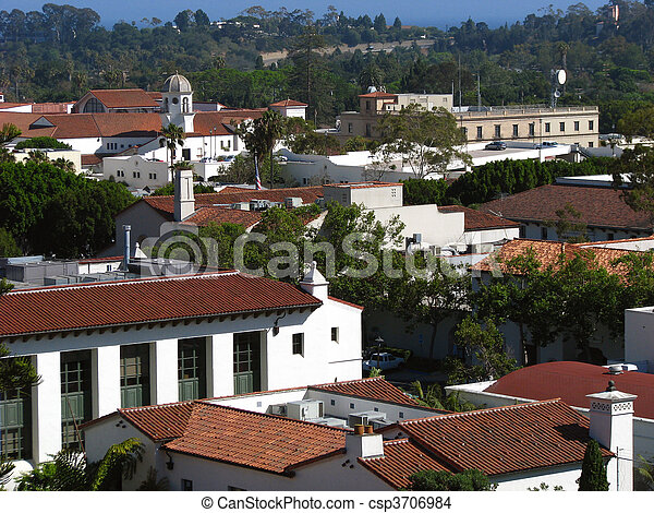Historic old town rooftops in Santa Barbara California. - csp3706984