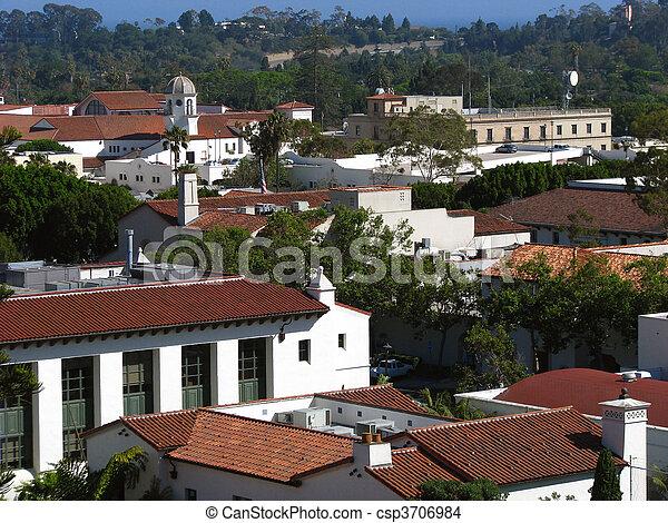 Historic old town rooftops in Santa Barbara California. - csp3706984