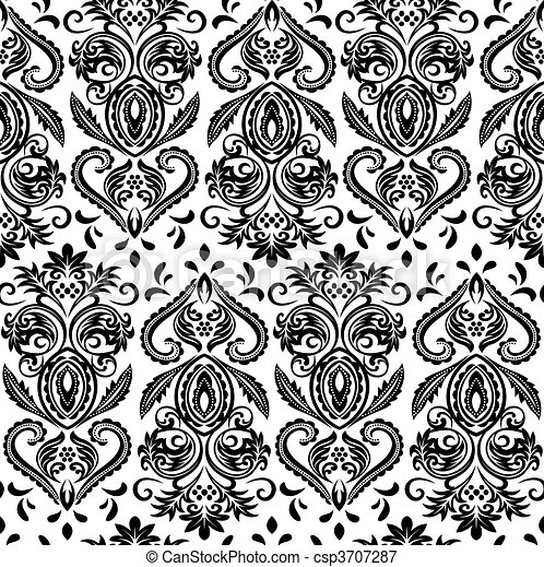abstract floral ornate wallpaper - csp3707287