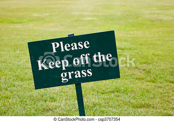 Please keep off the grass sign - csp3707354