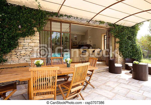 Stock Bild Von Luxus Terrasse Drau 223 En A Sch 246 Ne Haus