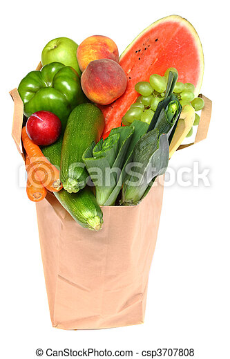 A grocery bag full of healthy fruits and vegetables - csp3707808