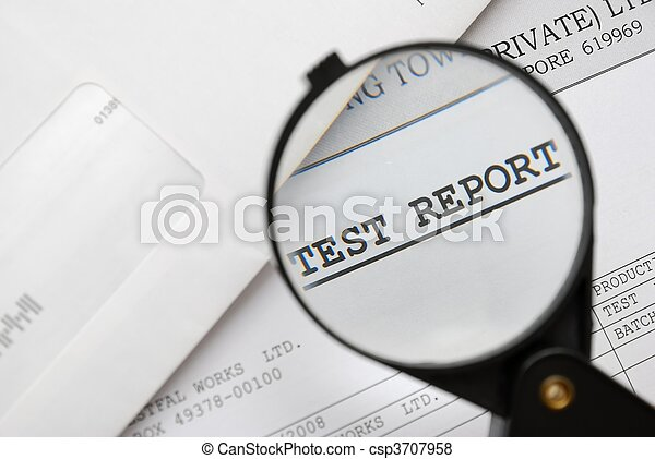 Closeup of magnifying glass on test report - csp3707958