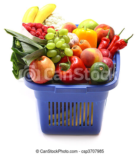 A shopping basket full of fresh produce - csp3707985