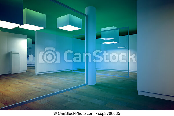 Waiting room in a hospital or clinic with empty space and blue  - csp3708835
