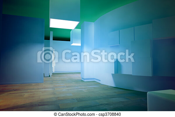 Waiting room in a hospital or clinic with empty space and blue  - csp3708840