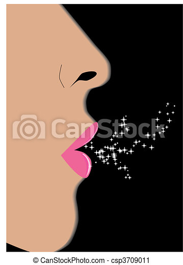 Profile of feminine face on black background, vector illustration - csp3709011
