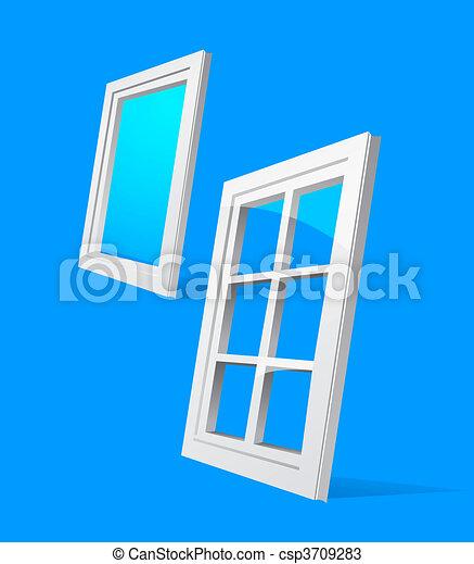 perspective plastic window illustration  - csp3709283