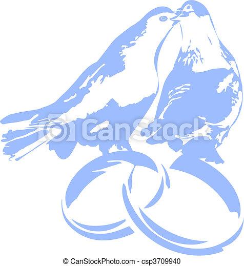 Clipart Vecteur de Pigeons, Anneaux, mariage - Colombes, sur, mariage ...