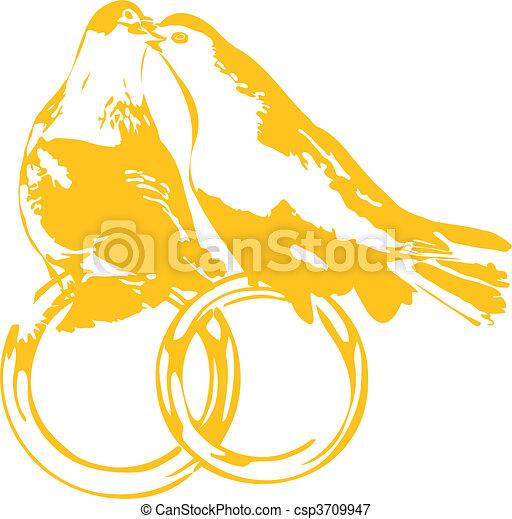 de Pigeons, Anneaux, mariage - Colombes, sur, mariage, Anneaux ...