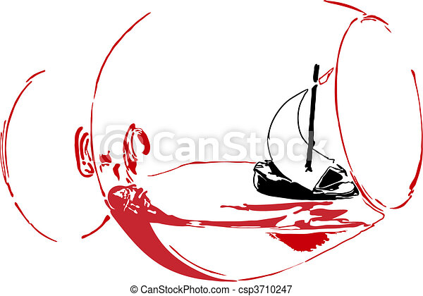 Sailing vessel in a glass - csp3710247
