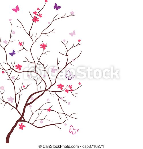 Oriental cherry with butterflies - csp3710271