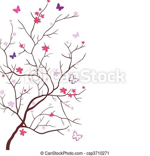 Oriental cherry with butterflies - csp3710271