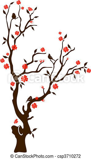 Oriental cherry with birds - csp3710272