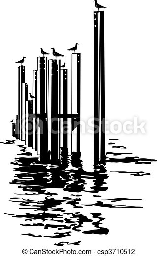Seagulls on piles - csp3710512