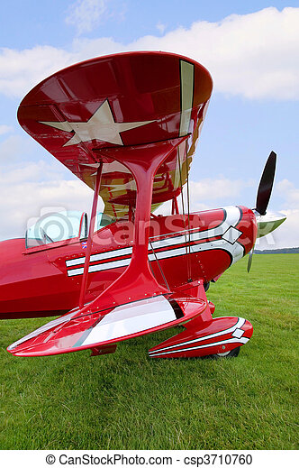 Red Biplane wing view - csp3710760