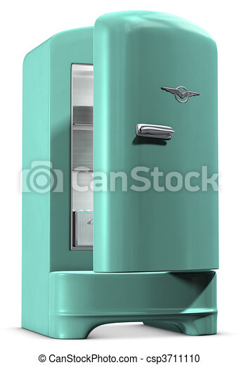 Stock Illustration of Retro Fridge A retro turquoise