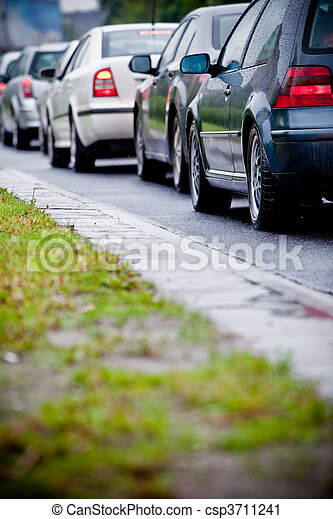 Traffic jam in flooded highway cause rain - csp3711241