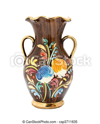 Kitsch vase with floral pattern and gilded details on white background. - csp3711635