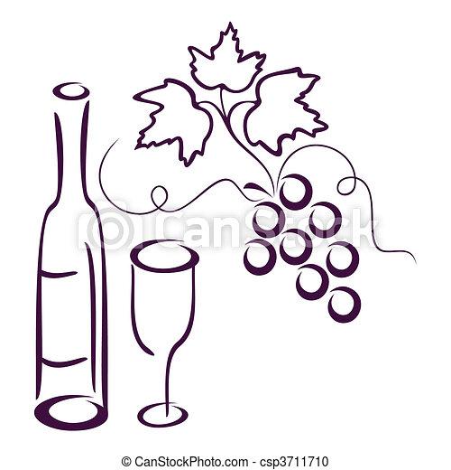 Clipart vecteur de life encore vigne bottle de vin verre et groupe csp3711710 - Verre de vin dessin ...