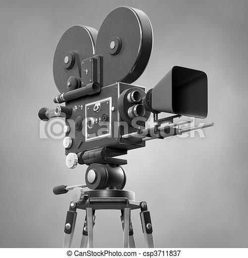 Old Fashoned Movie Camera - csp3711837