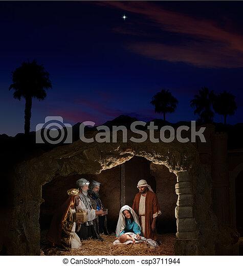 nativity, クリスマス - csp3711944