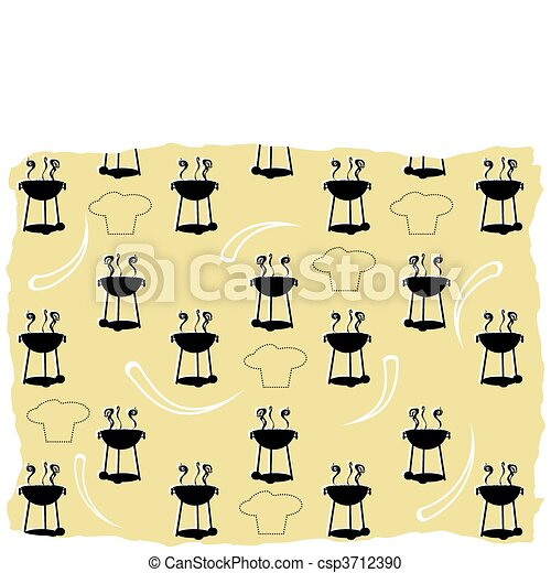Abstract BBQ cooking pattern silhou - csp3712390