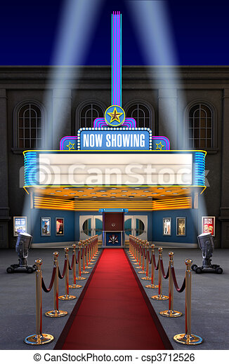 Movie Theatre & Ticket Box - csp3712526