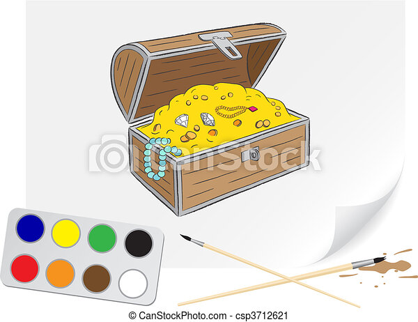 Drawing chest of treasures - csp3712621