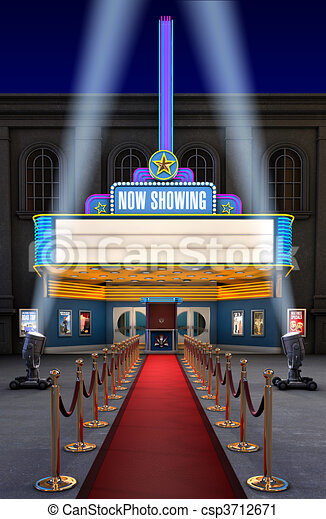Movie Theatre & Ticket Box - csp3712671