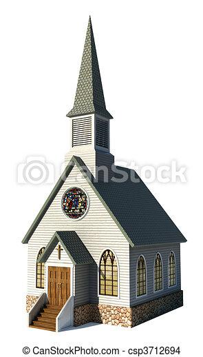 白色, 教堂 - csp3712694