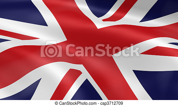 United Kingdom flag in the wind - csp3712709