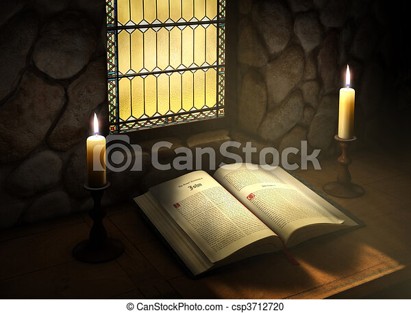 Open Bible in Sunlight - csp3712720