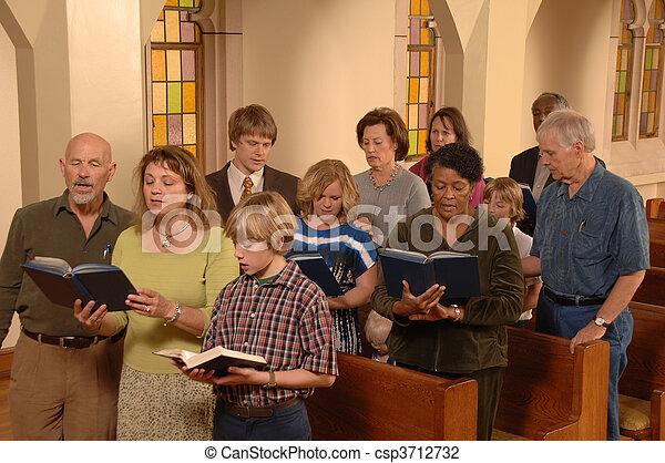 贊美詩, 唱, 教堂 - csp3712732