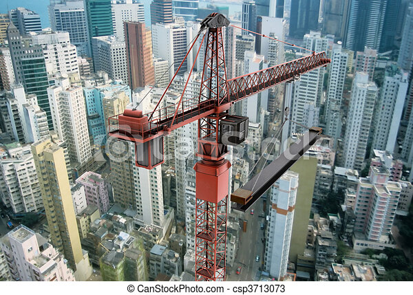 Construction Crane from Above - csp3713073