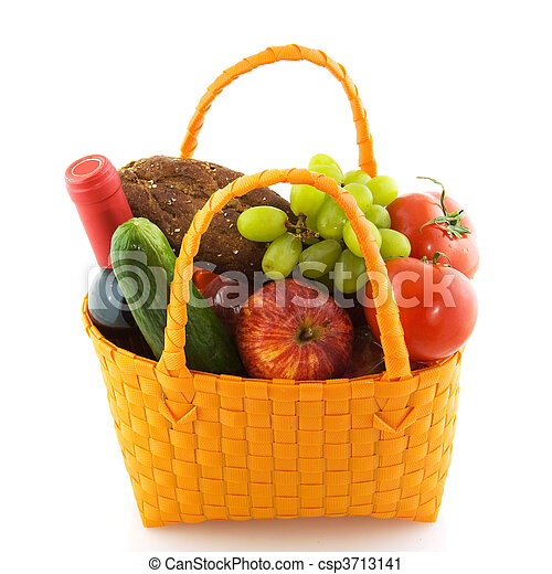 Shopping bag with daily food - csp3713141