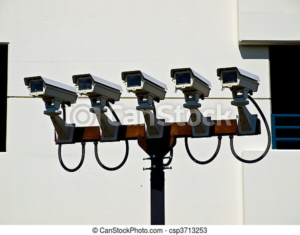Group of Five Security Cameras Performing Surveillance - csp3713253