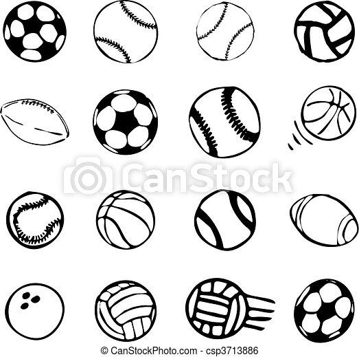 Clip Art Vector Van Set Bal Sporten Iconen Symbolen