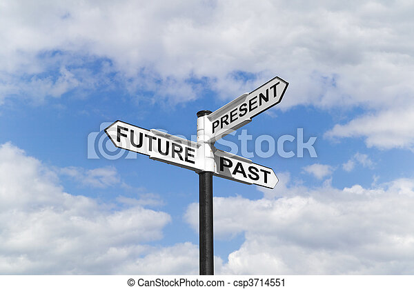 Future Past & Present signpost in the sky - csp3714551