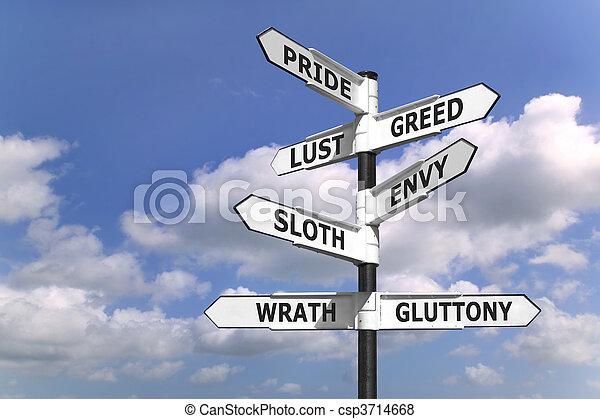 Seven dealdy sins signpost - csp3714668
