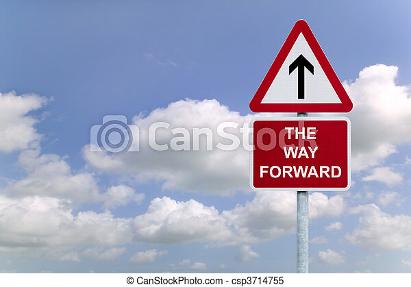 The Way forward signpost in the sky - csp3714755