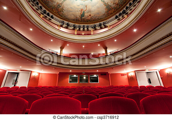 19th Cahors luxurious classical theater in France with red velvet seats and control room in the depths.