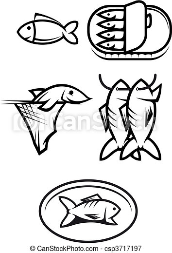 Fish food symbols - csp3717197