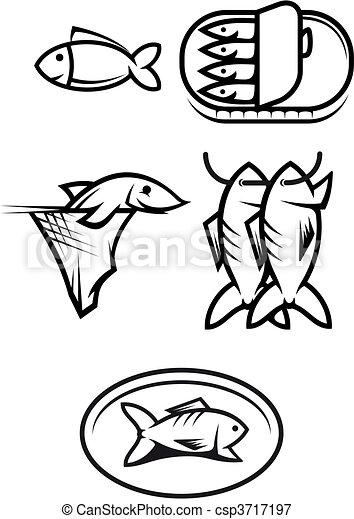 Fish food symbols - csp3717197