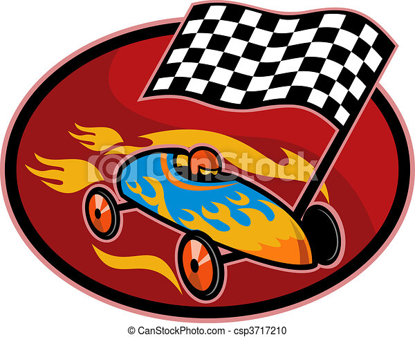 Soap box derby racing with race flag set inside a circle - csp3717210