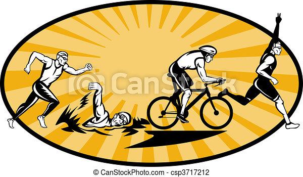Olympic triathlon athlete swim bik run - csp3717212
