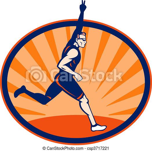 Triathlon runner flashing victory sign set inside an ellipse. - csp3717221